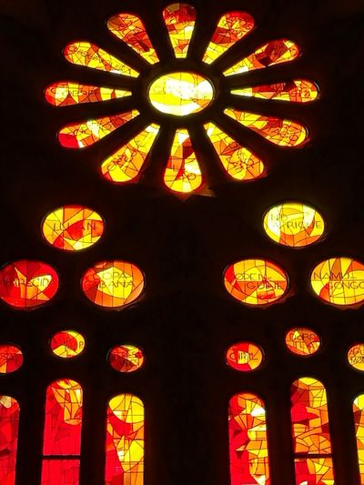 sagrada familia church Multi Colored Illuminated Window Red Close-up