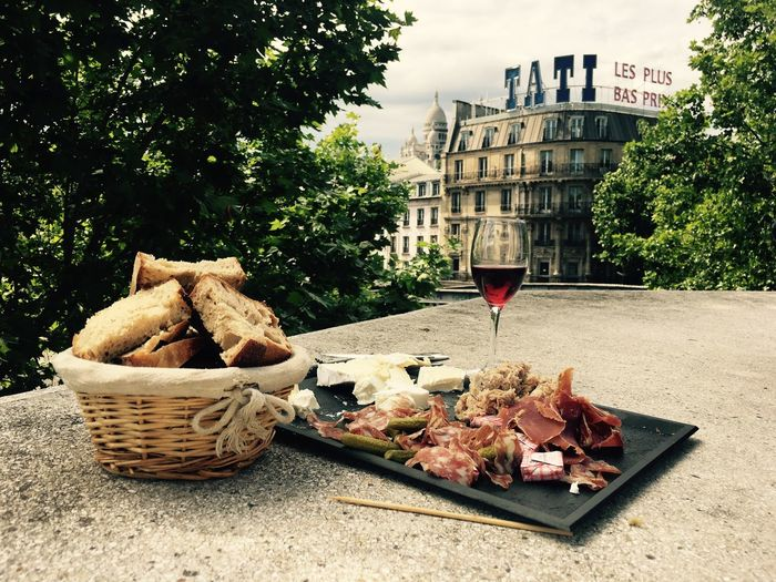 Food in Paris. Street Bread Wine Tati French Paris Food And Drink Drink Glass Alcohol Wine Basket Refreshment Wineglass Food Day No People Building Exterior City Freshness