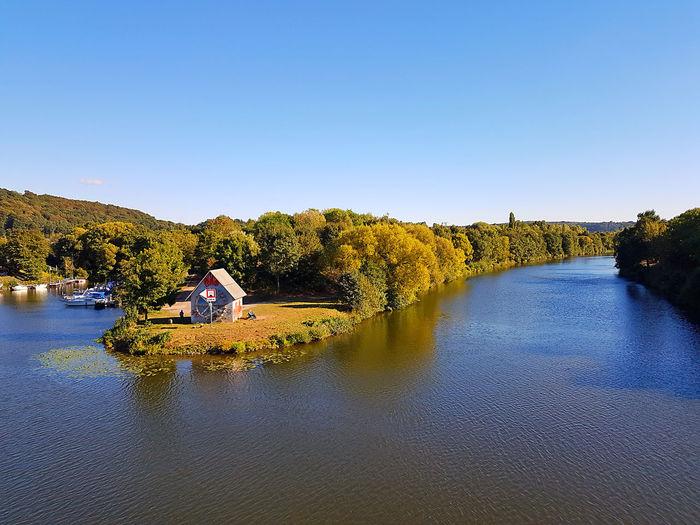 Blick von der Ostspange Saarbruecken Hauptstadt Stadtamfluss Saarland Water Blue Sky Outdoors Nature