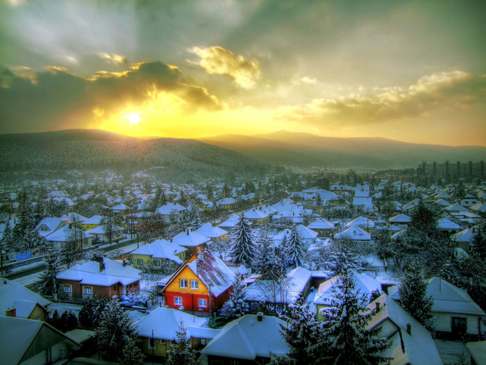 Sky Architecture Cloud - Sky Winter Beauty In Nature Cold Temperature Sunset House Residential District City Snow Sunrise Sashalmi HDR Hdr_Collection Hdrphotography Building Building Exterior Nature Built Structure High Angle View Mountain Miskolc Diosgyor Scenics - Nature