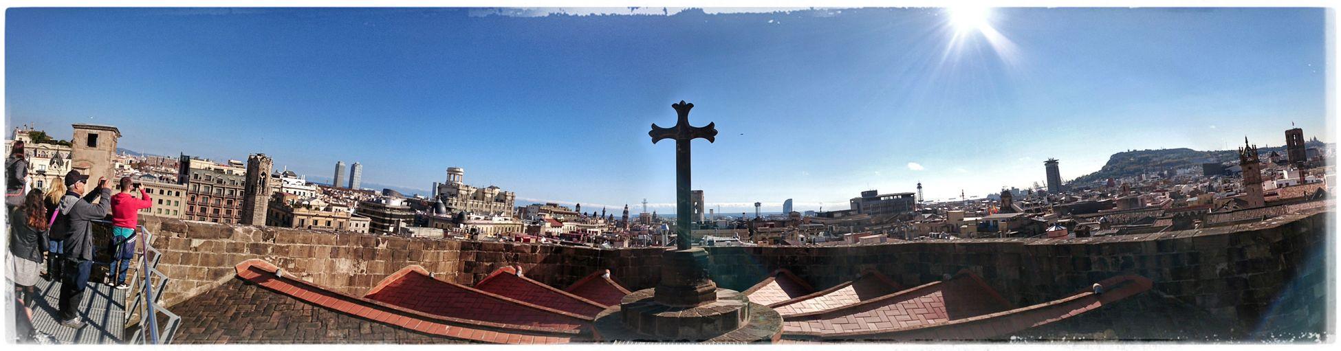 über den Dächern der Stadt Barcelona Catedral De Barcelona Rooftopview Rooftop Cityview