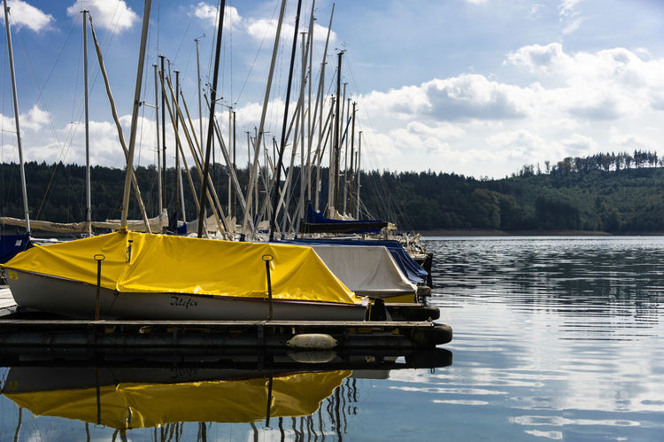 Paint The Town Yellow Boat Day Landing Stage Mode Of Transport Nature Nautical Vessel Outdoors Sailing Sailing Boat Tarpaulin Tranquility Transportation Water