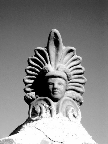 Patron saint Lesbos Saint Lucky House Greek Style Rooftop Rooftopping House Roof Blackandwhite Stonepattern Atmospheric Mood Mediteranean Still Life Structures Shadows & Lights EyeEm Best Shots EyeEm Best Shots - Black + White EyeEm Selects Close-up Sky Sculpture Statue Idol