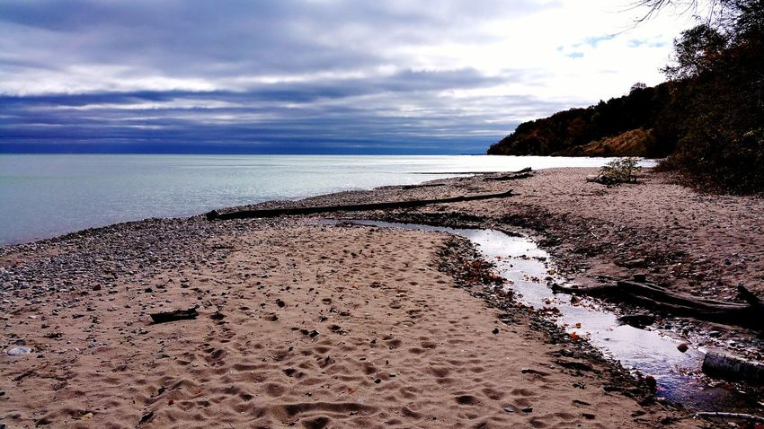 EyeEm Selects Beach Sand Water Nature Cloud - Sky Sky Horizon Over Water Outdoors Beauty In Nature Scenics No People Day Landscape Stormy Sky Cloudy Skies Lake Lake Michigan Stream_collection Creek View Blue