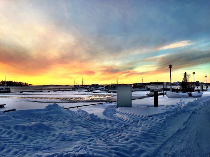 Snow Winter Cold Temperature Sunset Cloud Scenics Season  Landscape Sky Cold Snow Covered Tranquil Scene Orange Color Tranquility Beauty In Nature Solitude Nature Dramatic Sky Outdoors Remote