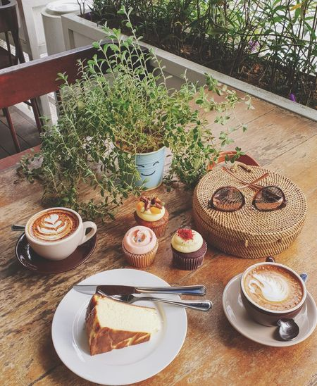 Tea time. Cappuccino Latte Art Coffee Bar Tulip Stainless Steel  Latte Cupcakes Latte Cupcakes Cheesecake♥ Outdoors Plate Table High Angle View Drink Sweet Food Food And Drink Latte Cappuccino Cafe Macchiato Foam Coffee Espresso Coffee Cup Black Coffee Froth Art Mocha Caffeine Hot Drink