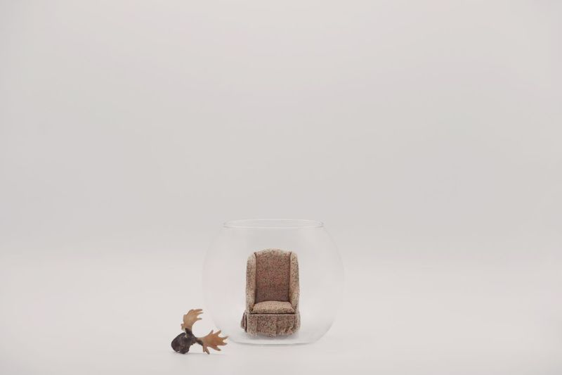 I bought this tiny armchair yesterday Armchair Miniature Copy Space Indoors  Studio Shot Still Life White Background No People Container Toy Representation