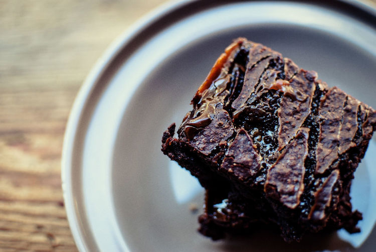 Close-up of brownie served in plate