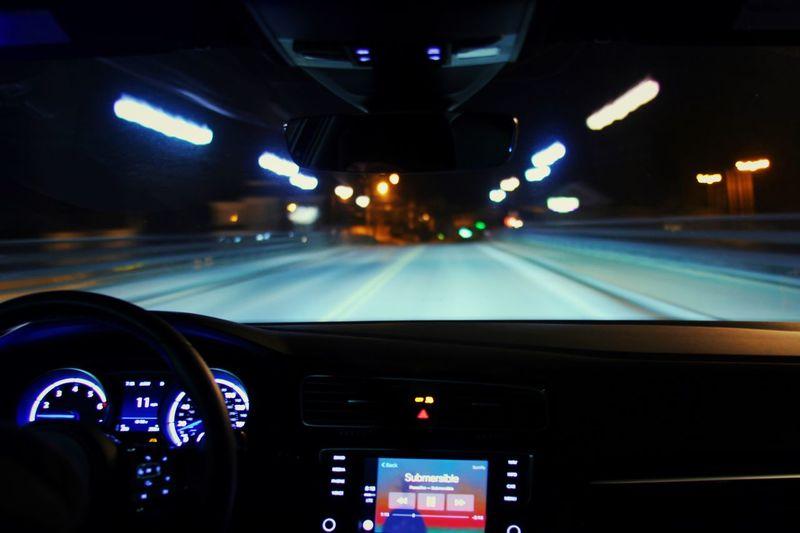 Late drive in the MK 7 Car Night Cruising Volkswagen Golf R Dashboard Vehicle Interior Car Interior Transportation Speedometer Night first eyeem photo