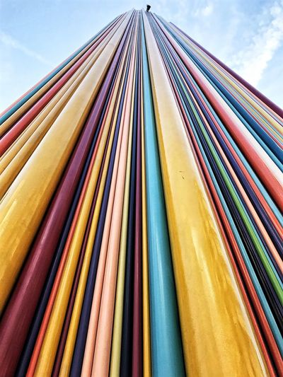 Le Moretti Tubes Fiberglass Arts Culture And Entertainment EyeEm Selects Multi Colored No People Low Angle View Sky Choice Pattern Day Variation Built Structure Architecture In A Row Outdoors Close-up Side By Side Design Cloud - Sky Large Group Of Objects