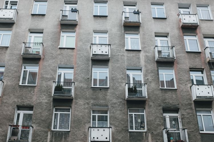 Apartment Architecture Backgrounds Balcony Building Building Exterior Built Structure City City Life Day Full Frame In A Row Low Angle View No People Outdoors Pattern Repetition Residential District Side By Side Window