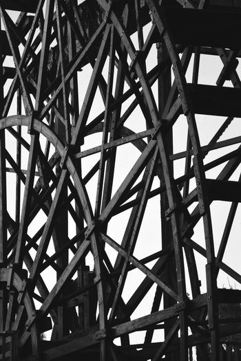 Wheel Alloy Architectural Feature Architecture Backgrounds Bridge Built Structure Ceiling Close-up Connection Day Full Frame Geometric Shape Girder Indoors  Low Angle View Metal Nature No People Pattern Roof Roof Beam Sunlight