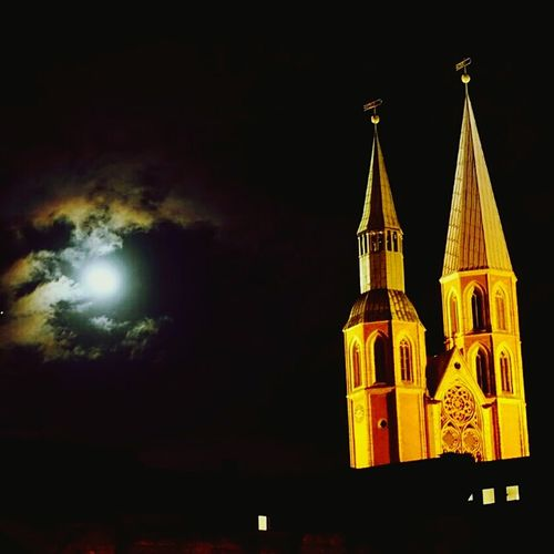 Moonlit impressions Church Gothic Churches In Germany Night Photography Night View Moon Moonlight Clouds And Sky Cloud Brunswick Braunschweig Cities At Night