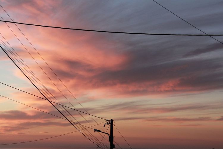 Beauty In Nature Calm Looking Up Peaceful Pink Portugal Power Line  Sky Sunset