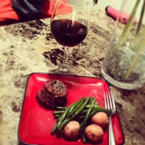 Dinner for one on this cold night! Garlic herb butter and spinach pinwheel steak, red potatoes and green beans w/ ?! I was a little bored lol Icookpretty Watchingbeingmaryjane Fakecheflife Nostruggleplateshere idoalittlesomething ??