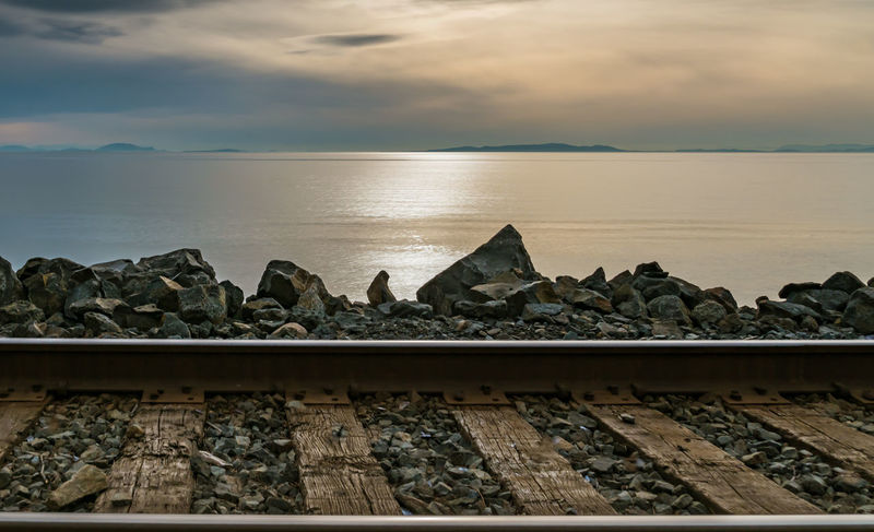 #beautiful Bc #pacificocean #pacificnorthwest #PeacefulMoment #railwaytracks #reflections #rockyforeground #settingsun #simplicity #Solitude Beauty In Nature Day Nature No People Outdoors Sky Transportation