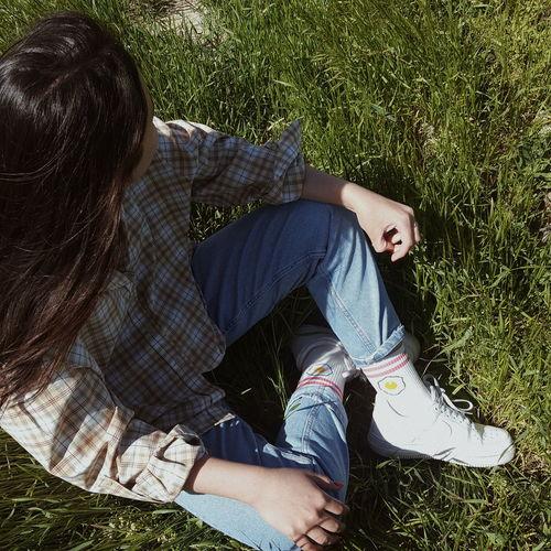 Teenager Teen Nature Grass Nikes Socks Plaid Plaid Shirt  Hair Down Summer Getaway  Contemplating 16-17 Years Human Leg Denim Human Foot Shoe Footwear Simple Living