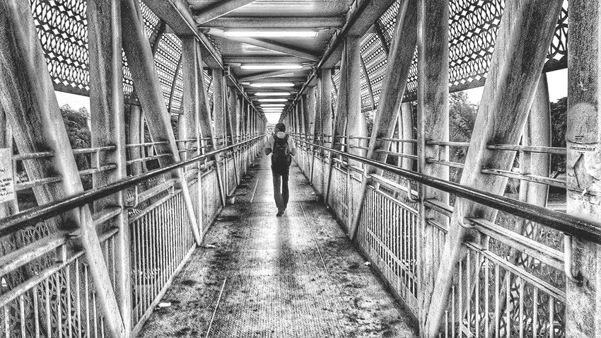 Black And White Person Bridge Crossing Walking Backpacking Vintage Perspective WILLPOWER Point Of View Independence