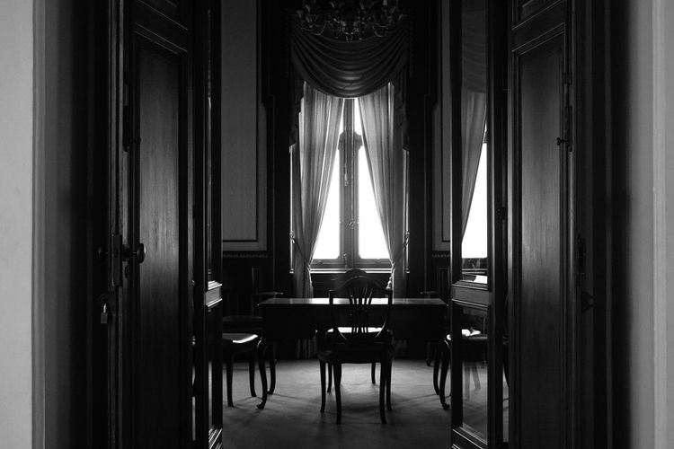 Indoors  Chair Window Interiors Empty Museum Of Natural History Museum History Interior Design Room Design Black & White