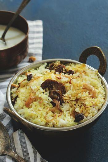 Homemade Lamb biryani Asian  Food Styling Rice Paddy Arabic Basmati Biryani Rice Bowl Close-up Food Food And Drink High Angle View Indian Food Indoors  Kerala Food Malabar Mutton Biryani No People Non Veg Ready-to-eat Yogurt Dip