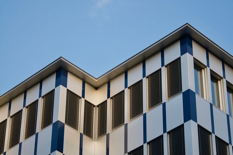 Close up view of a modern office building facade in the city of lugano, switzerland