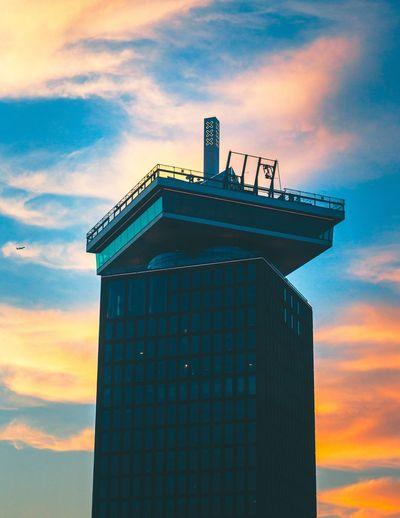A'DAM LOOKOUT Sunset Silhouettes Sunset_collection Amsterdamcity Amsterdam Architecture Sunset Best EyeEm Shot Best Of EyeEm Architecture Built Structure Building Exterior Sky Cloud - Sky Sunset Nature Building Tower Orange Color City