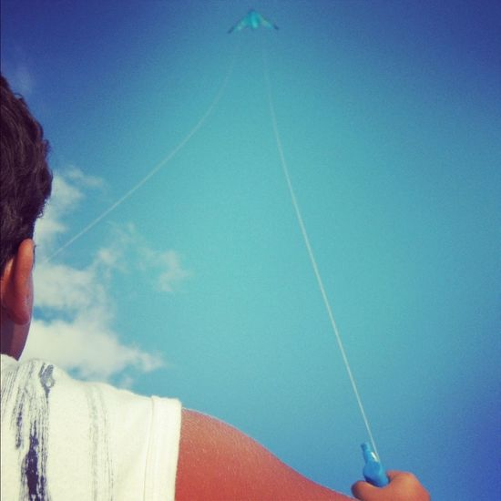 Blue kite Kite Aquilone Cielo Blue Sky Brother Fratello Summer Estate People And Places Done That.