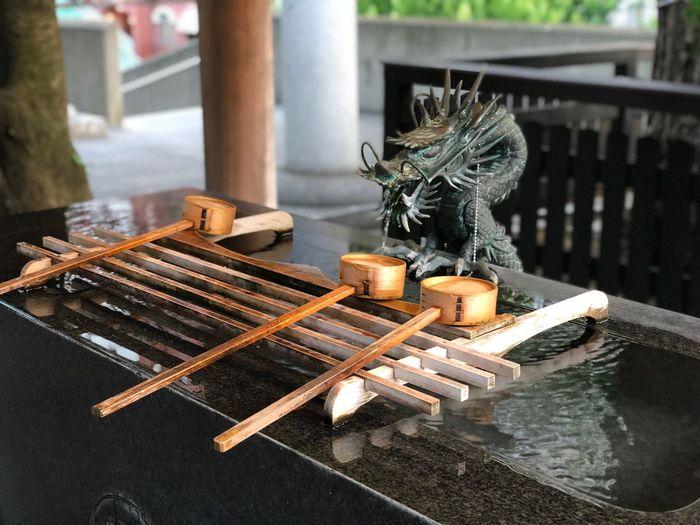 Japanese fountain in garden
