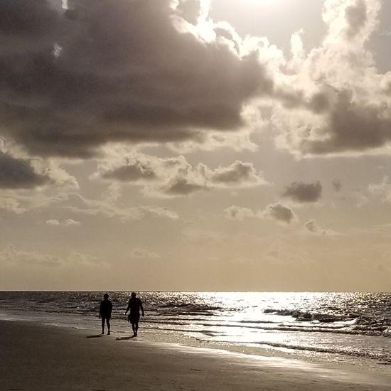 Ocean Walk On The Beach  2 Pair Couple Relationship Marriage  Love Sky Clouds Sun Sunrise Travel Hilton Head Island, SC Water Sea Beach Sand Wave Silhouette Summer Seascape Surf