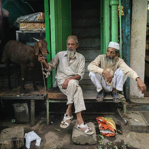 An Indian man poses with his goat in the old quarters of Delhi, India. Everydayeverywhere Dailylife Photojournalism Journalism Indiaphotoproject Reportagespotlight _soi Dfordelhi Sodelhi DelhiGram Oneplusone Onepluslife Delhi Newdelhi ASIA India