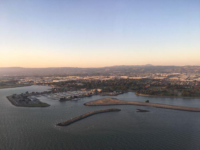 High angle view of city at riverbank