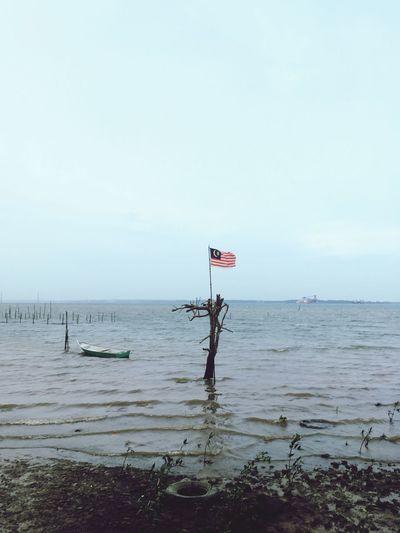 Malaysia negaraku💕🇲🇾 Clear Sky Flag Day Sky Beach Scenics No People
