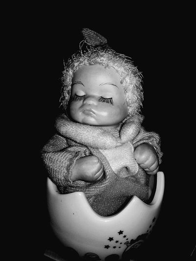 She Is Silent Babies Only Doll Photography Horror Photography Blackandwhite Cute Not Cute Black Background Silence EyeEmNewHere Close-up No People Black&white Sommergefühle EyeEm Selects