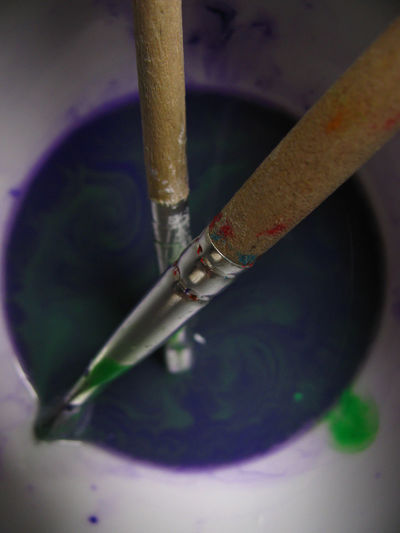 Blending Blurred Colors Green Color Liquid Paint Art And Craft Equipment Blend Brush Brushes Close-up Color Colour Directly Above Dissolving High Angle View Liquid Color Mixing Mixing Paints Paintbrush Paintbrushes Painting Painting Art Purple Purple Color