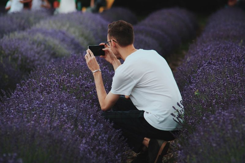 Man Crouching While Photographing Purple Lavender Flowers On Field