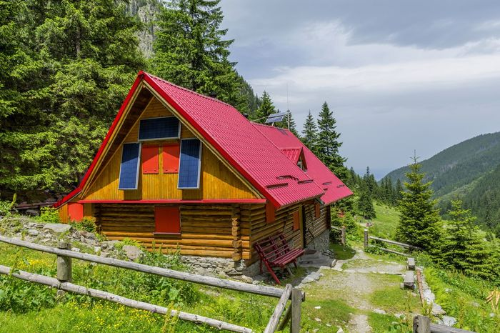 Architecture Built Structure Carpathian Mountains Cells Chalet Climbing Day Earth Environment Foothpath Hikingadventures House Mountain Mountain Range Nature Outdoors Pannel Photovoltaic Power Supply Rest Roof Save Sky Tranquility