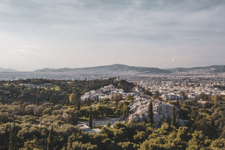 Acropolis Athens Greece Acropolis Architecture Building Exterior Built Structure Sky City Plant Nature Cityscape Residential District Building No People Tree Mountain Cloud - Sky High Angle View Environment Day Scenics - Nature Beauty In Nature Outdoors TOWNSCAPE
