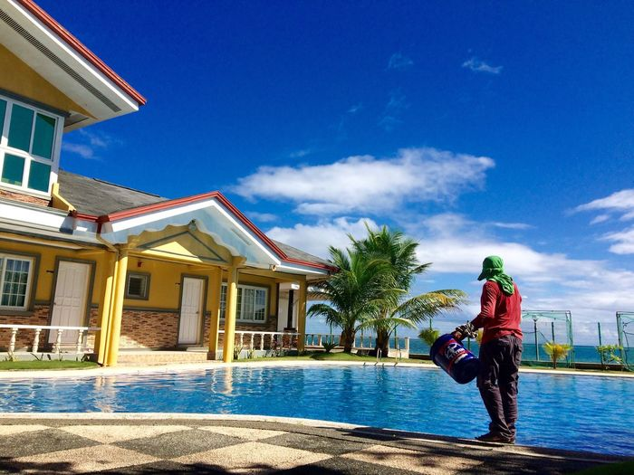 Pool Cleaning Maintainance Maintain Sky Blue Visayas Near Seaside Swimming Pool Water Day Friday