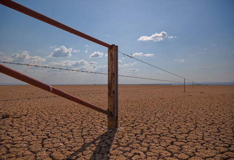 Wide View Of Fence On Barren Land