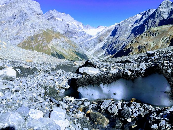 Glacier coverd with stones Mountain Snow Water Cold Temperature Snowcapped Mountain Lake Mountain Peak Glacier Sky Hiker Valley Dramatic Landscape