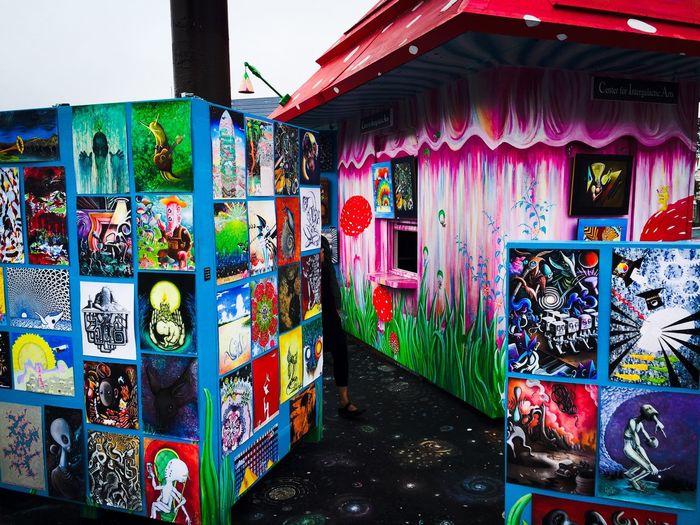 Graffiti on wall at market stall