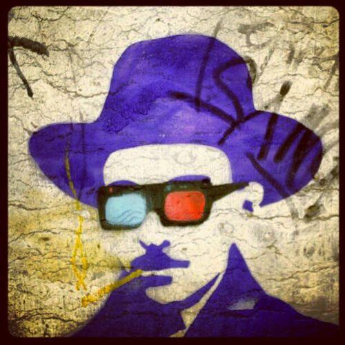 3D Anaglyphic Fernando Pessoa in Lisboa street art. probably high too.