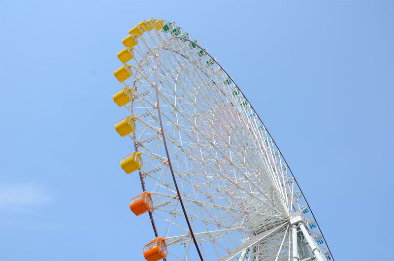 Amusement Park Amusement Park Ride Arts Culture And Entertainment Blue Chain Swing Ride Enjoyment Ferris Wheel Fun Low Angle View Sky Osaka,Japan The Ultimate Japan
