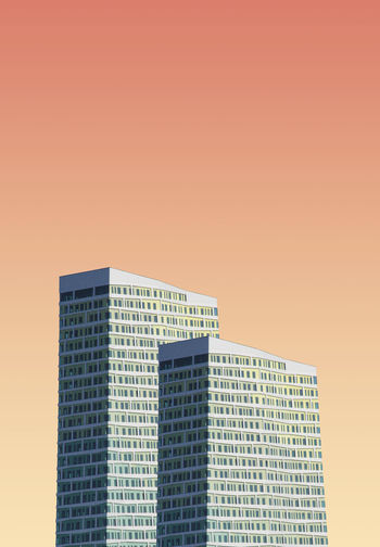 Modern building against colored background