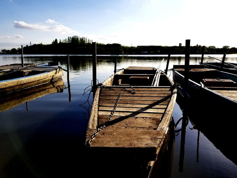 Boat Water Nautical Vessel Moored Lake Reflection Pier Sky