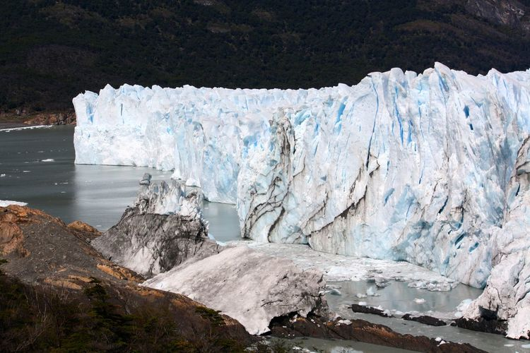 Spectacular rock and ice formation in a glacial environment