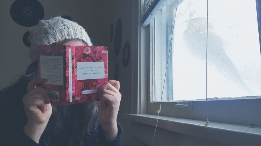 I could use a cold winters day and my favorite book right about now. Wintertime Thevirginsuicides Jefferyeugenides Beanie Records Selfportrait Cold Days Bluehues Snow Window