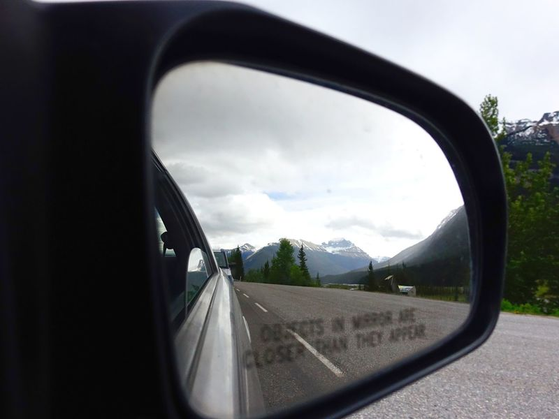 Jasper Alberta Canada Exploring Camping Abventure Travel Mirror Snow Cloud Mountains Sky Car Road Nature