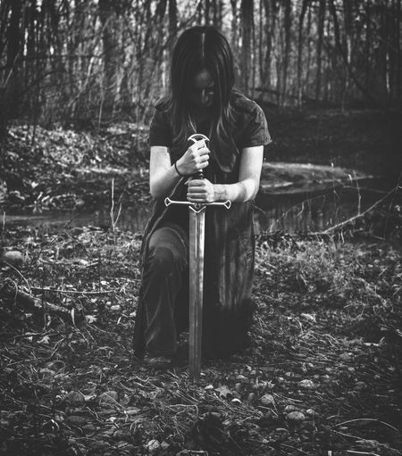 Defeat Portrait Self Portrait Blackandwhite Black And White Young Women Pleading Tree Full Length Sitting Women Forest Females Depression - Sadness Tensed Hopelessness Despair Grief Mourning Crying Loss Monochrome Distraught  Fall