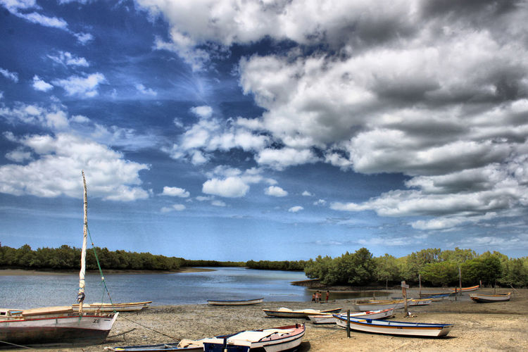 Beauty In Nature Boat Cloud - Sky Day Mode Of Transport Moored Nature Nautical Vessel No People Outdoors River Scenics Sky Tranquility Transportation Tree Water